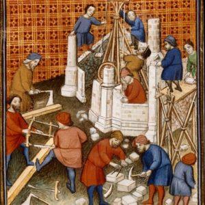 : La construction au Moyen Age (église et château) : les différents corps de métiers