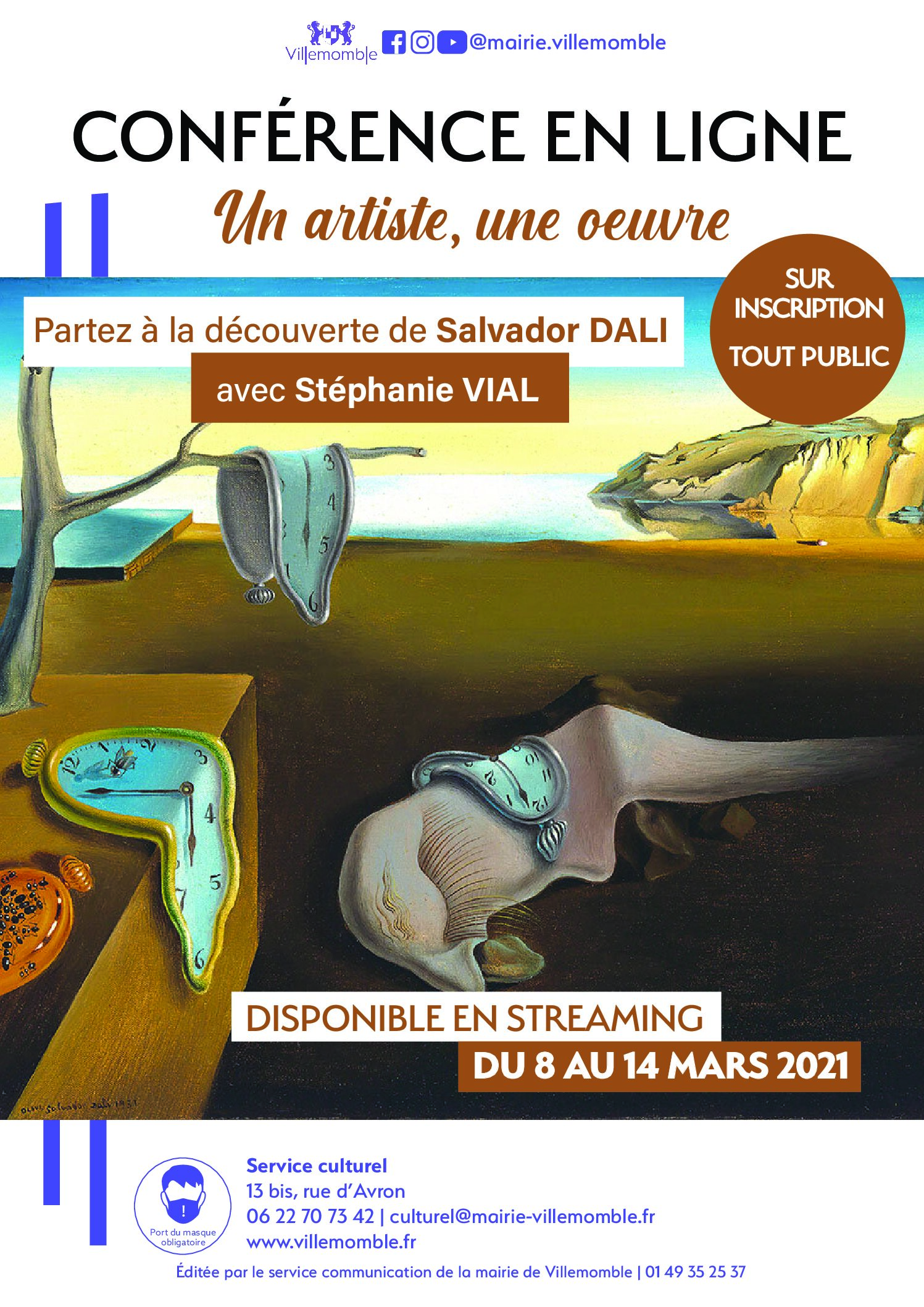 !! NOUVEAUTE !! CONFERENCE EN LIGNE : Partenariat avec la Mairie de Villemomble : Un artiste / Une œuvre